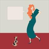 Kvinna röd matta, hund Arkivfoto