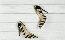 Kvinna` s hög-heeled skor Royaltyfri Foto