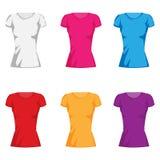 Kvinna set för samling för modet-shirt Arkivfoton
