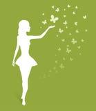 Kvinna silhouette på green royaltyfri illustrationer