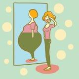 Kvinna som är olycklig med hennes diagram Fett och banta thin begreppet också vektor för coreldrawillustration stock illustrationer