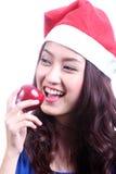 Kvinna som äter äpplet Fotografering för Bildbyråer