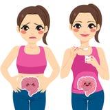 Kvinna som äter yoghurt stock illustrationer