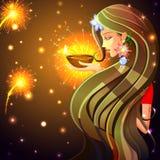 Kvinna som önskar lyckliga Diwali stock illustrationer