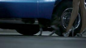 Kvinna som öppnar korvettbildörrarna och skriver in den franska bulldoggen för bilater arkivfilmer