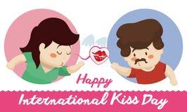 Kvinna som överför en kyss på hennes pojkvän i kyssdagen, vektorillustration Fotografering för Bildbyråer