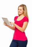 Kvinna som använder den Digital minnestavlan Fotografering för Bildbyråer