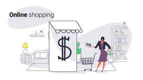 Kvinna som använder online-marknaden för mobil applikation som shoppar för kundinnehav för begrepp den kvinnliga skärmen för smar stock illustrationer