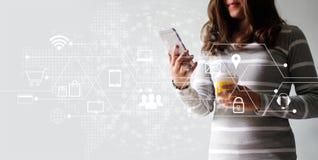 Kvinna som använder online-shopping för mobila betalningar och anslutning för symbolskundnätverk Digital marknadsföring, M-bankrö royaltyfri foto