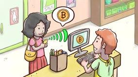 Kvinna som använder telefonen för att betala med den Bitcoin cryptocurrencyen i en speceriaffär stock illustrationer