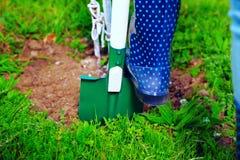 Kvinna som använder skyffeln i hennes trädgård Arkivfoto