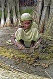 Kvinna som arbetar i jutebransch, Tangail, Bangladesh Royaltyfri Bild
