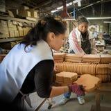 Kvinna som arbetar i tegelplattafabrik, Mexico Royaltyfri Foto