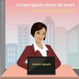 Kvinna som arbetar på bärbara datorn i ett kontor royaltyfri illustrationer
