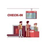 Kvinna som arbetar på flygplatsen som kontrollerar i affärsman stock illustrationer
