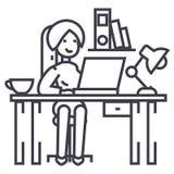 Kvinna som arbetar på kontorstabellen, kontorsinre, freelancervektorlinje symbol, tecken, illustration på bakgrund vektor illustrationer