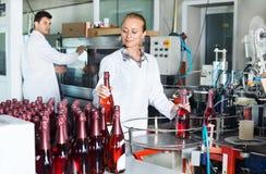 Kvinna som arbetar på vinproduktion på manufactory Fotografering för Bildbyråer