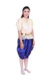 Kvinna som bär den typiska thai klänningen som isoleras på vit bakgrund Royaltyfria Foton