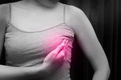 Kvinna som bär en grå spagettirem som kontrollerar hennes bröst med den röda fläcken, svartvit signal, begrepp av bröstsjälv-exam Royaltyfri Fotografi