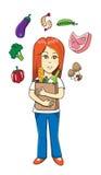 Kvinna som bär en pappers- matpåse Royaltyfri Illustrationer