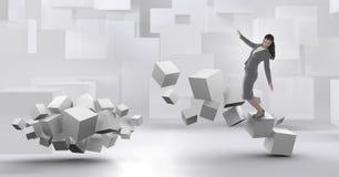 Kvinna som balanserar på geometriska overkliga kuber royaltyfri illustrationer