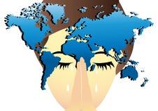 Kvinna som ber för världen stock illustrationer