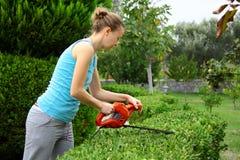 Kvinna som beskär busken med hjälpmedlet i trädgård Royaltyfri Foto