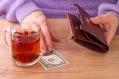 Kvinna som betalar för te Royaltyfria Bilder