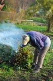 Kvinna som bränner stjälk i trädgården Royaltyfri Bild