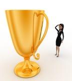 kvinna som 3d tänker om stort utmärkelsebegrepp för guld- kopp Arkivfoton