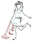 Kvinna som dammsuger på huset vektor illustrationer