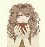 Kvinna som dricker kaffe stock illustrationer