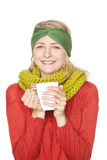 Kvinna som dricker varm choklad Arkivbilder