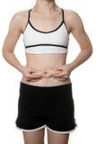 Kvinna som får den feta buken Royaltyfri Fotografi