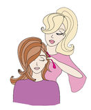 Kvinna som får frisyr av frisören vektor illustrationer