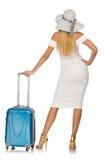 Kvinna som förbereder sig för den isolerade sommarsemestern Royaltyfria Foton