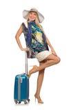Kvinna som förbereder sig för den isolerade sommarsemestern Royaltyfria Bilder