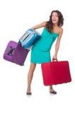 Kvinna som förbereder sig för semester Royaltyfria Bilder