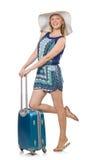 Kvinna som förbereder sig för sommarsemester Arkivbilder