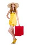 Kvinna som förbereder sig för sommarsemester Royaltyfria Bilder