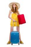 Kvinna som förbereder sig för sommarsemester Royaltyfri Fotografi