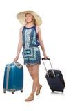 Kvinna som förbereder sig för sommarsemester Arkivfoto