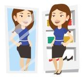 Kvinna som försöker på kläder i loge royaltyfri illustrationer