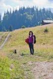 Kvinna som fotvandrar i berg med hunden Fotografering för Bildbyråer
