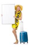 Kvinna som förbereder sig för semester Arkivbild