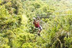 Kvinna som går på ett djungelziplineaffärsföretag Arkivfoto