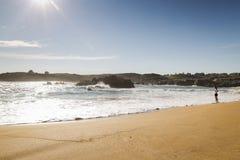Kvinna som går på sanden av en härlig strand royaltyfria foton