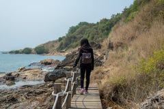 Kvinna som går på träbron arkivfoto