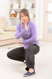 Kvinna som gör övning för chi för qi gongtai Royaltyfri Foto