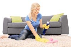 Kvinna som gör ren en matta med en lokalvårdsprej Arkivbild